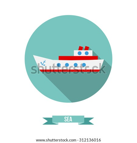 Vector flat icon. Passenger ferry ship - stock vector