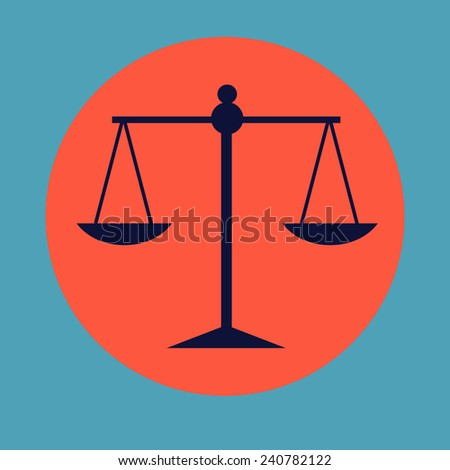 vector flat icon Scales of Justice - stock vector