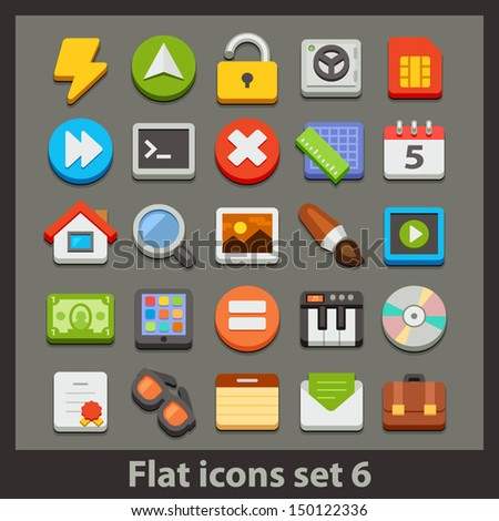 vector flat icon-set 6 - stock vector