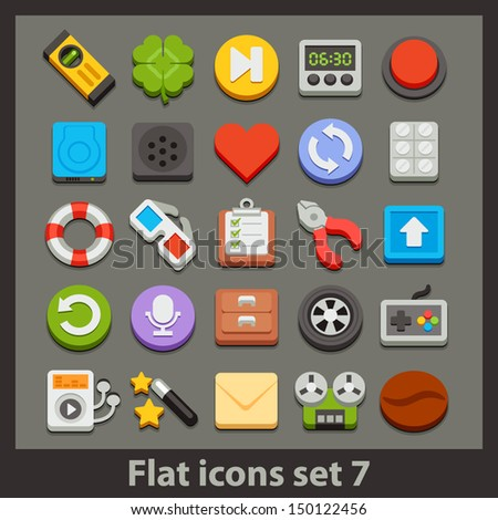 vector flat icon-set 7 - stock vector