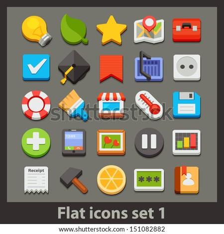 vector flat icon-set 1 - stock vector
