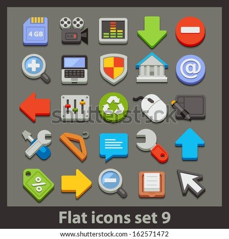 vector flat icon-set 9 - stock vector