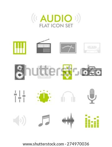 Vector Flat Icon Set - Audio  - stock vector