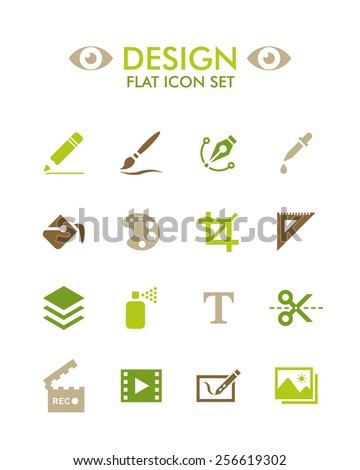 Vector Flat Icon Set - Design - stock vector