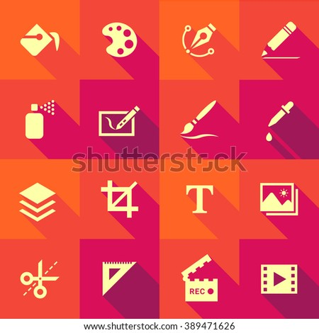 Vector Flat Icon Set - Design and Art  - stock vector