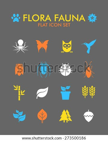 Vector Flat Icon Set - Flora and Fauna  - stock vector
