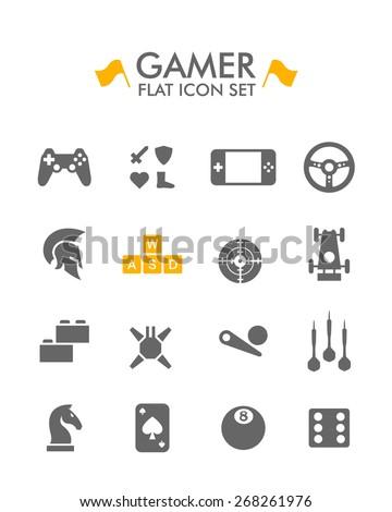 Vector Flat Icon Set - Gamer  - stock vector