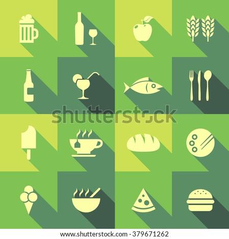 Vector Flat Icon Set - Gastronomy  - stock vector