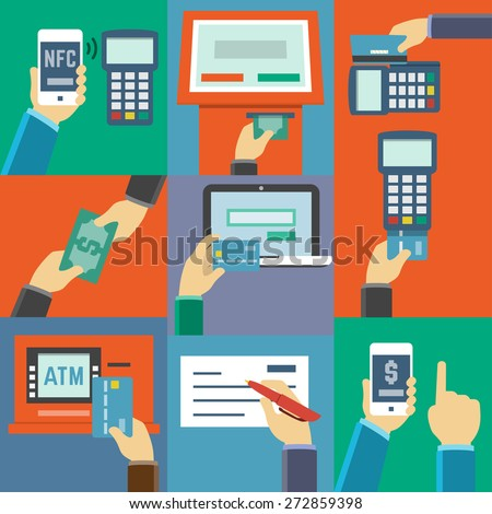 Vector Flat Icon Set Payment Methods Stock Vector ...