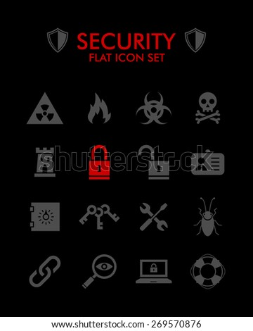 Vector Flat Icon Set - Security  - stock vector