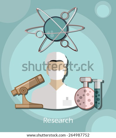 Vector flat icon successful man researcher with a microscope in a flat design style for business, research, teaching in school or college, work, market research, search for the right decisions - stock vector