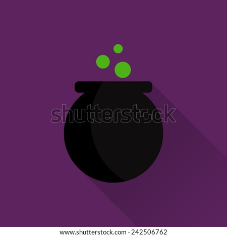 Vector flat icon with witch pot and long shadow - stock vector