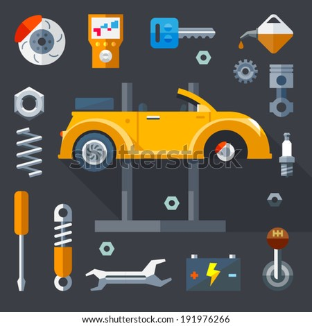 Vector flat  icons and illustrations repair of machines and equipment - stock vector