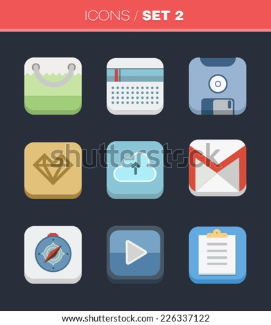Vector flat Icons for Web and Mobile Applications Set 2 - stock vector