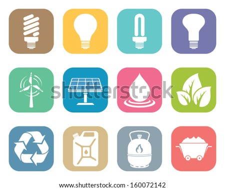 vector flat icons set of energy electricity power and eco - stock vector