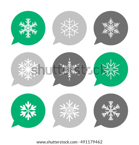 Vector Flat Icons Set - Snowflakes