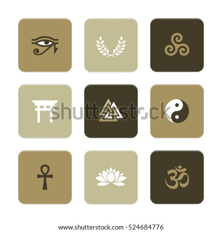 Vector Flat Icons Set - Spiritual Symbols (with Hindu Om Symbol)