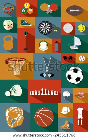 Vector flat icons set with long shadow. Colourful collection of sporting icons - stock vector