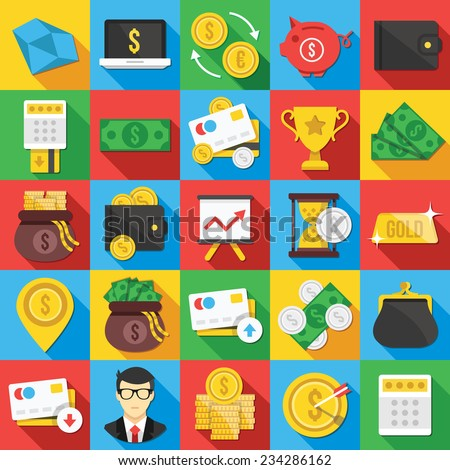 Vector flat icons set with long shadow for web and mobile apps.Colorful modern design illustrations,elements, symbols, concepts of banking,financial service, business growth, investment,accounting,etc - stock vector