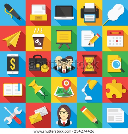 Vector flat icons set with long shadow for web and mobile apps. Creative colorful modern design illustrations,elements, concepts of business, office work, team management, seo. - stock vector