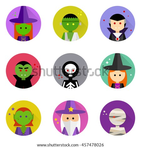 Vector flat icons with long shadow. Halloween characters collection. Elements for design on white background. Purple, red, orange, yellow, black, pink, green, grey, blue colors. - stock vector