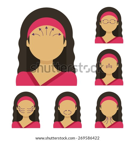 Vector flat illustration: face massage instruction demonstrated on young beautiful hindu woman in red clothes - stock vector