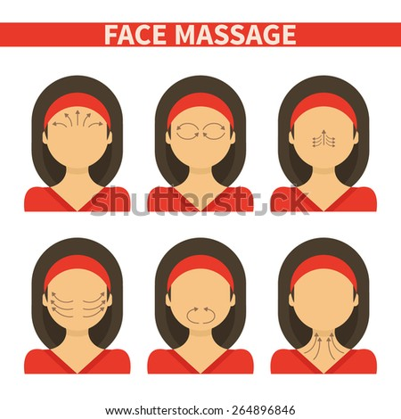 Vector flat illustration: face massage instruction demonstrated on young beautiful woman in red clothes - stock vector
