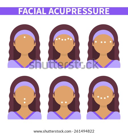 Vector flat illustration: facial acupressure instruction demonstrated on young beautiful latina woman - stock vector