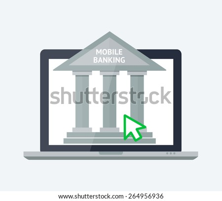Vector flat illustration for your design. Online banking concept. Illustration of modern laptop with banking house on the screen.