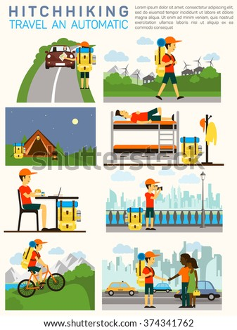 Vector flat illustration infographic of hitchhiking tourism (road travel). Man with a big backpack travelling. Sleeping at camp, on the bed, making photos, riding bicycle, meeting people.  - stock vector