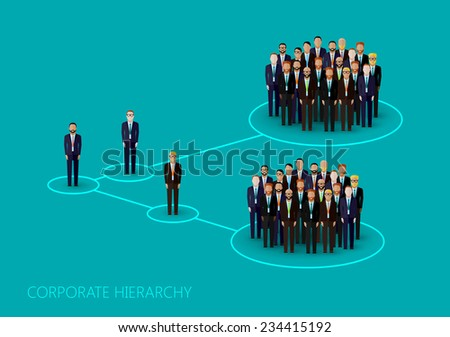 vector flat illustration of a corporate hierarchy structure. a crowd of men (business men or politicians) wearing suits and ties. leadership concept. management and staff organization - stock vector