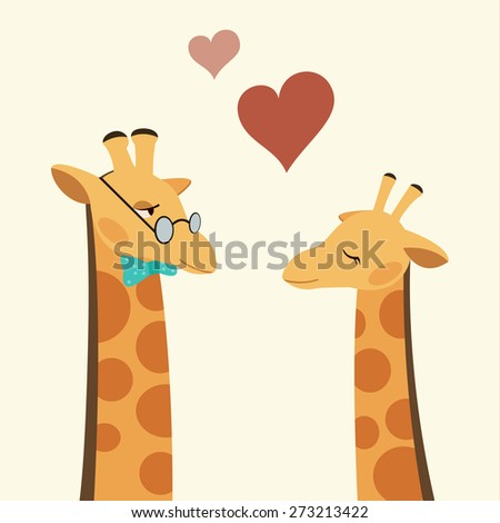 Vector Flat Illustration of a Cute Couple of Giraffes in Love. - stock vector