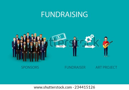 vector flat illustration of an infographic fundraising concept. a group of business men giving money for non profit art project - stock vector