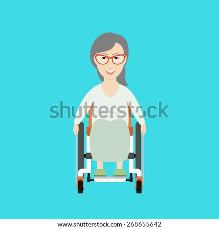 Vector Flat Illustration of an Old Woman on a Wheelchair. - stock vector