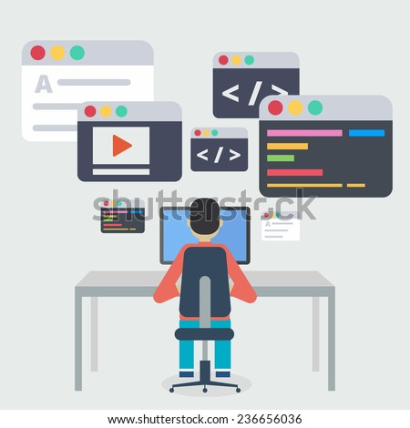 Vector flat illustration of application or website development, Design,Programming. Flat design, vector illustration. - stock vector