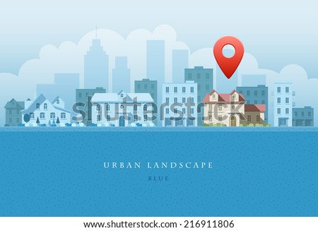 Vector flat illustration of city landscape. OPtions concept. Elements are layered separately in vector file. Easy editable.  - stock vector