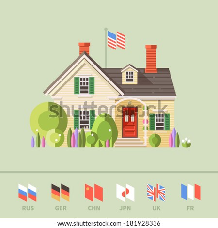 Vector flat illustration of cool detailed yellow house icon isolated on background. Ability to change the flags of different countries, including the U.S., Russia, UK, Japan, China, France. - stock vector