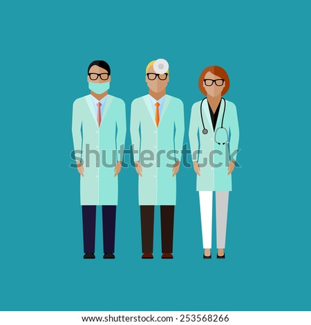vector flat illustration of doctors. medical and healthcare concept - stock vector