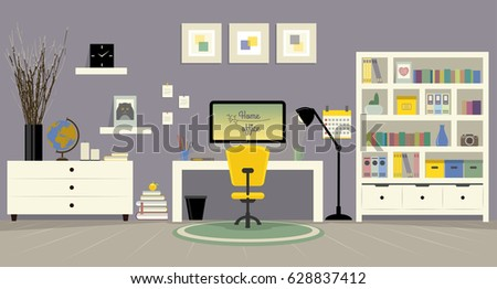 Vector Flat Illustration Of Modern Home Office Workplace Concept Freelance With Work Desk