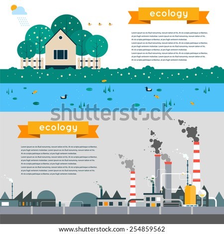 Vector flat illustration of pollution and eco-friendly landscapes. Ecology, environmental protection, green energy, production, factory, pollution, smoke, urban. Poster, banner. Horizontal banner - stock vector