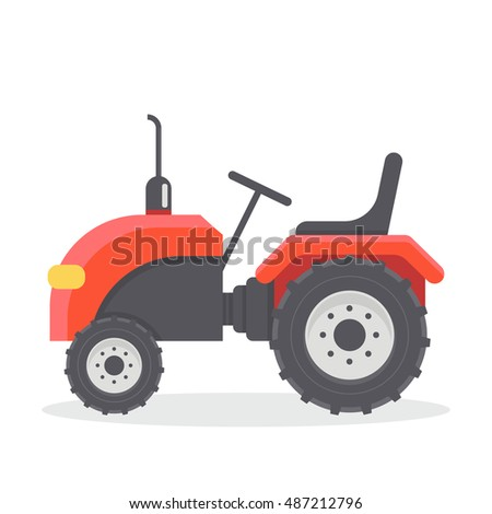 Vector flat illustration of red tractor without cab. Agricultural machinery.