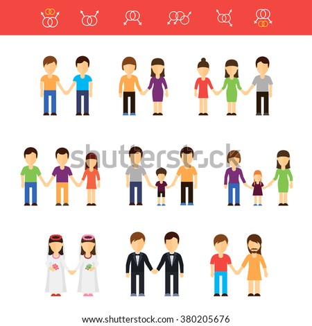 Vector flat illustration of same-sex couples male or female. Transgender partner, transgressive phenotype. Conception of freedom nontraditional homosexual lesbians partners and gays couples - stock vector