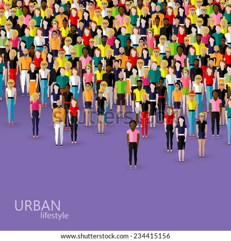 vector flat illustration of society members with a crowd of men and women. population. urban lifestyle concept - stock vector