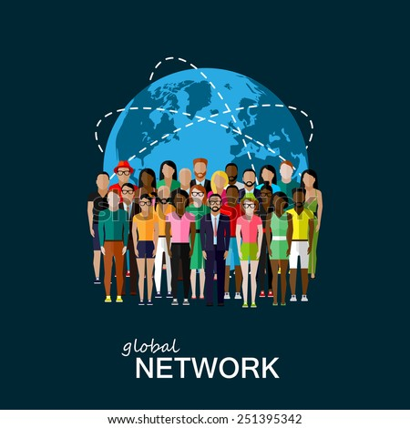 vector flat illustration of society members with a large group of men and women. population. modern society or global network concept  - stock vector