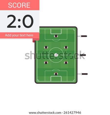 Vector Flat Illustration of Table Soccer (also known as Table Football, Foosball or Kicker) with Scoreboard. - stock vector
