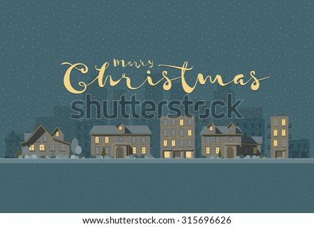 Vector flat illustration of winter city in Christmas time. Elements are layered separately in vector file. Easy editable.  - stock vector