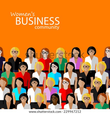 vector flat  illustration of women business community. a large group of women (business women or politicians).  summit or conference family image - stock vector