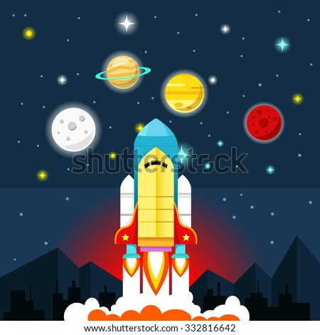 Vector flat illustration. Rocket, city, planets and stars. Can be used for business project or other materials. - stock vector
