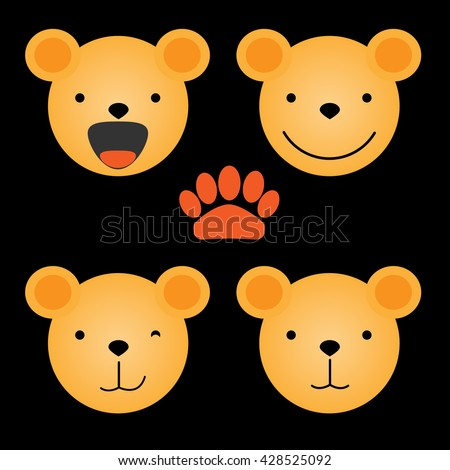Vector flat illustration - set of cute animal faces. Bear head emotions, icons element for your design. Smiling teddy bear, children toy concept. - stock vector