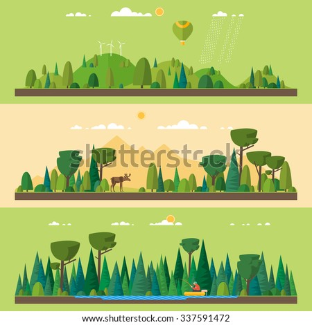 Vector flat illustrations - Eco style life. Abstract forest. Wildlife. Forest view. Fishing on the lake in the woods - stock vector